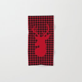 Red Plaid Deer Stag Design Hand & Bath Towel