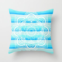 Turquoise Blue Stripes Mandala Throw Pillow