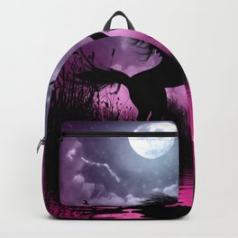Wonderful unicorn with cute fairy in the night Backpack