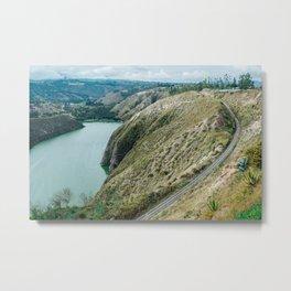 Rail Over Lake Metal Print