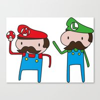 mario bros Canvas Prints featuring Mario Bros. by Justin Temporal