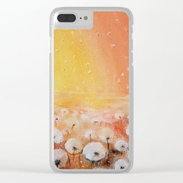 Sunrise and Dandelions, Watercolor Clear iPhone Case