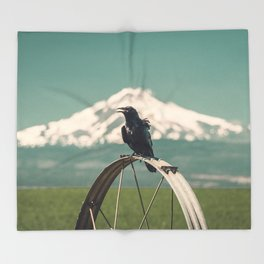 Mt. Jefferson Raven Throw Blanket