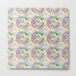 Overlapped Watercolor Mandala Metal Print