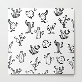 Funky Cactus Love Black and White Abstract Pattern Metal Print