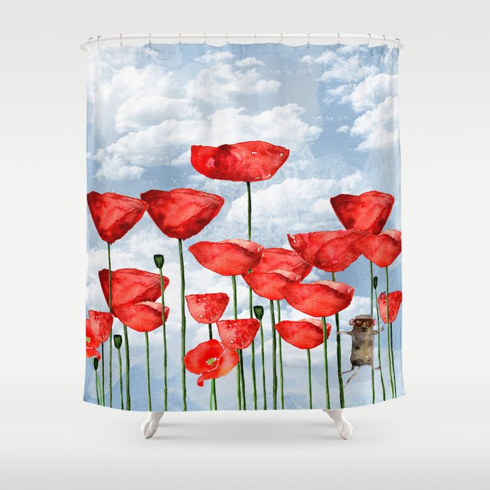 Mouse And Poppies On A Cloudy Day Shower Curtain