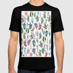 water color garden SMALL Black Mens Fitted Tee