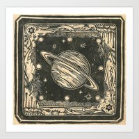 saturn Art Prints featuring Saturn by Ouizi - Los Angeles