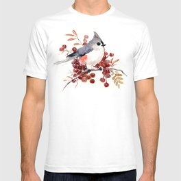 Titmouse and Berries, red fall colors, birds and flowers vintage style east coast T-shirt