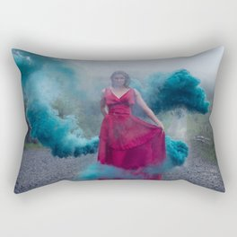 Beautiful, young and sexy female vampire style in a red dress with smoke outdoors. Rectangular Pillow