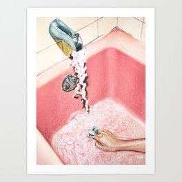 Evening Plans | Vintage Pink Bathroom | Retro Watercolor Art Print