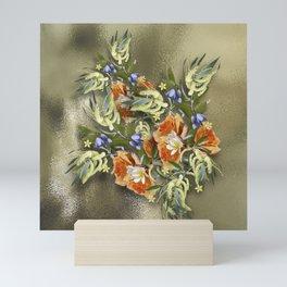 Beautiful flower bouquet on shimmering gold Mini Art Print