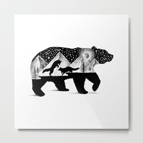 THE BEAR AND THE FOXES Metal Print