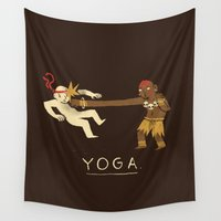 yoga Wall Tapestries featuring yoga. by Louis Roskosch