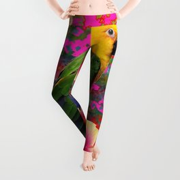 YELLOW HEADED GREEN PARROT PINK HIBISCUS  FUCHSIAFLORAL Leggings