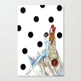 Dots & bow Canvas Print