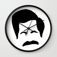 parks and recreation Wall Clocks featuring Ron Swanson Parks & Recreation by Sutton Long