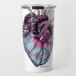 Butterfly Heart Blue Travel Mug