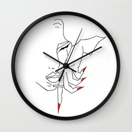 Girl with red nails Wall Clock