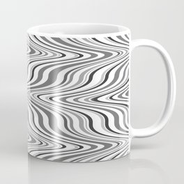 Moving curves optical illusion, black and white ikat pattern Coffee Mug