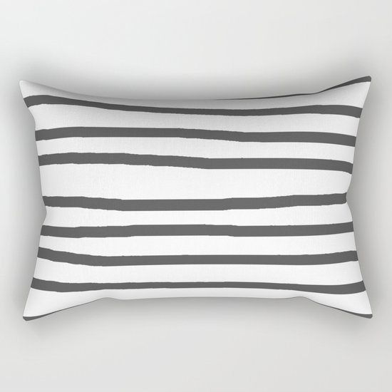 Simply Drawn Stripes in Simply Gray Rectangular Pillow
