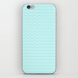 Aqua Belle and White Chevron Wave Wavy ZigZag Stripes iPhone Skin
