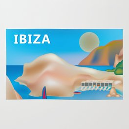 Ibiza, Spain - Skyline Illustration by Loose Petals Rug