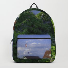 Portland Head Lighthouse Flowers View Backpack