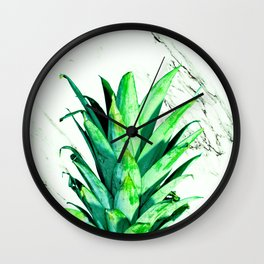Pineapple Top Black and White Marble Wall Clock