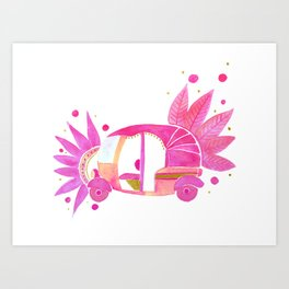 Pink and gold Groovy Rickshaw Art Print