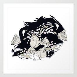 Dancing Fish Art Print Art Print