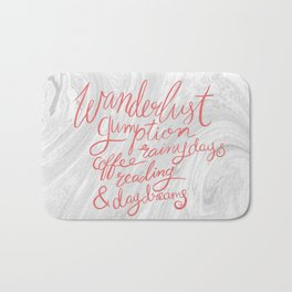 Wanderlust Words - Pink on Marble Bath Mat