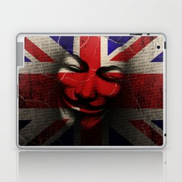 Guy Fawkes Day Union Jack Distressed Flag and Mask Laptop & iPad Skin