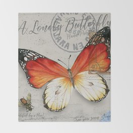 Vintage Butterfly Throw Blanket