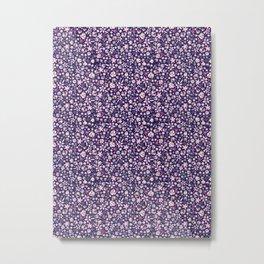 Watercolor Mini Flowers - Navy Metal Print