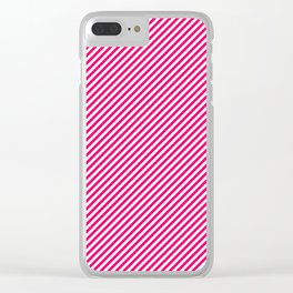 Mini Hot Neon Pink and White Candy Cane Stripes Clear iPhone Case