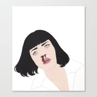 mia wallace Canvas Prints featuring Mia Wallace by Salome Papadopoullos