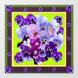 SPRING COLLECTION PURPLE-PINK PANSIES DESIGN Canvas Print