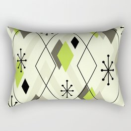 Mid Century Modern Scattered Diamonds Chartreuse Green Olive Rectangular Pillow