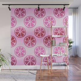 Tropical exotic moody duty grapefruit citrus slices decorative summer fruity pale whimsical cute pattern design. Wall Mural