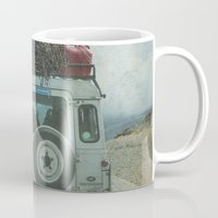 jeep Mugs featuring NEVER STOP EXPLORING II SUMMER EDITION by Monika Strigel