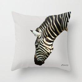Zebra by Kokatu GREY Throw Pillow