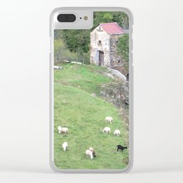 Goats herding next to castel Clear iPhone Case