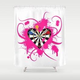 Dartboard Romance Shower Curtain