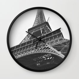 Eiffel Tower (Black and White) Wall Clock