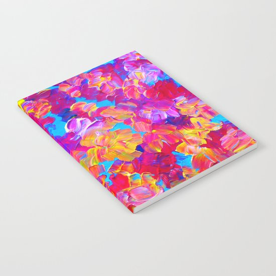 FLORAL FANTASY Bold Abstract Flowers Acrylic Textural Painting Neon Pink Turquoise Feminine Art Notebook