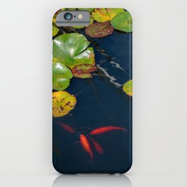 Red Koi Fish in Lily Pad Pond iPhone Case