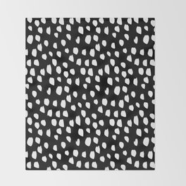 Handdrawn drops and dots on black - Mix & Match with Simplicty of life Throw Blanket
