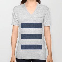 Nautical Blue & White Stripes Unisex V-Neck