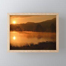 Sun Rising Over the Pond Landscape Framed Mini Art Print